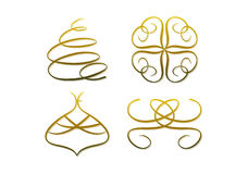 Abstract golden (christmas) symbols. Set of four elegant gold-colored symbols for holidays and seasonal purposes like christmas (including abstract christmas Stock Photos