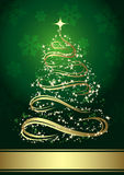 Abstract golden christmas tree. Against green background royalty free illustration