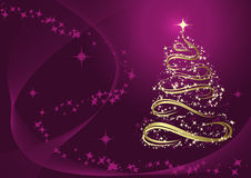 Abstract golden christmas tree. Against purple background royalty free illustration