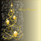 Abstract Golden Christmas Tree Stock Image