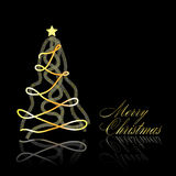 Abstract golden christmas tree on black background Stock Photo