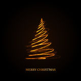 Abstract golden christmas tree on black background Stock Images