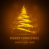 Abstract golden christmas tree on black background. Vector eps10 illustration Royalty Free Stock Image
