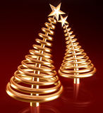 Abstract golden christmas tree with clipping path. Abstract golden christmas tree in red background with clipping path 3d illustration Royalty Free Stock Photography