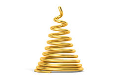 Abstract Golden Christmas Tree closeup, 3D rendering. On white background Stock Photography