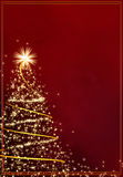 Abstract golden christmas tree on red background Royalty Free Stock Photography