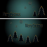 Abstract golden christmas trees on black background. Vector eps10 illustration Royalty Free Stock Image