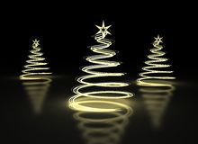 Abstract Golden Christmas trees on dark background Stock Photo
