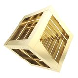 Abstract golden cube composition isolated Royalty Free Stock Photography