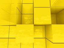 Abstract golden cubes Stock Image