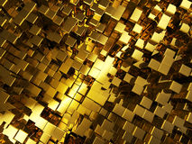 Abstract golden cubes background. Concept of golden cubes city background Stock Photo