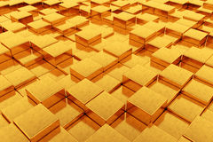 Abstract Golden Cubes background. 3d Rendering. Abstract Golden Cubes extreme closeup background. 3d Rendering Royalty Free Stock Photography