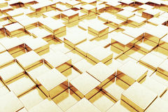 Abstract Golden Cubes background. 3d Rendering. Abstract Golden Cubes extreme closeup background. 3d Rendering Stock Images