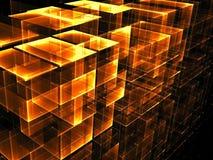 Abstract golden cubes background - digitally generated image. Abstract golden cubes - computer-generated 3d illustration. Digital art: wall of blocks. Technology Stock Illustration
