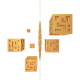 Abstract Golden Cubes 3D Render. Isolation of White Royalty Free Stock Photography