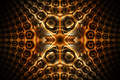 Abstract golden detailed geometrical ornament on black background. Royalty Free Stock Images