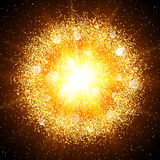 Abstract golden explosion with gold elements. Stock Image