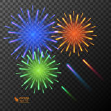 Abstract golden fireworks explosion on transparent background. Abstract colorful fireworks explosion on transparent background. New Year celebration fireworks Royalty Free Stock Photography