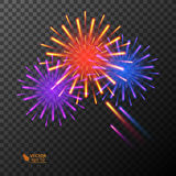 Abstract golden fireworks explosion on transparent background. Abstract colorful fireworks explosion on transparent background. New Year celebration fireworks Royalty Free Stock Photo