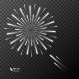 Abstract golden fireworks explosion on transparent background. Abstract fireworks explosion on transparent background. New Year celebration fireworks. Holiday Royalty Free Stock Photography