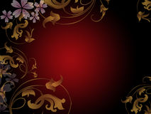 Golden floral abstract. Abstract golden floral design on red gradient background Royalty Free Stock Image