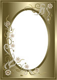 Abstract  golden  floral  frame. Postcard. Royalty Free Stock Images