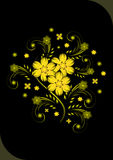 Abstract golden flowers on black background. Illustration of abstract golden flowers on black background Royalty Free Stock Image