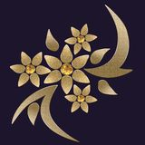 Abstract golden flowers. Dark violet background with golden flowers Stock Photography
