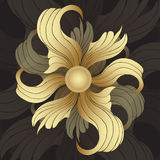 Abstract golden flowers. Golden buds, curled petals on black background. Jewel ornament Stock Images