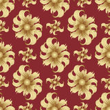 Abstract golden flowers, seamless pattern. Golden buds, curled petals on a red background. Jewel ornament. Rich, luxurious design Stock Photo