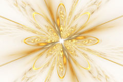 Abstract golden fractal flower on white background. Royalty Free Stock Photos