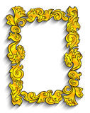 Abstract golden frame. Illustration of abstract golden frame with black outline isolated vector illustration
