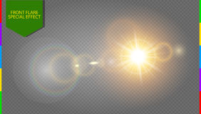 Abstract golden front sun lens flare translucent special light effect design transparency in additional format only. Vector blur in motion glow glare stock illustration