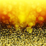 Abstract golden glow. Christmas background with gold magic star Stock Photo