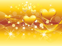Abstract golden heart background Stock Images