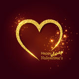 Abstract golden heart with glowing lights. Valentines day gold luxury background. Vector illustration stock illustration