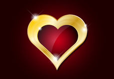 Abstract golden heart with shines Stock Images