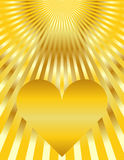 Abstract Golden Heart Sunburst Background Stock Images