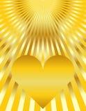 Abstract Golden Heart Sunburst Background Stock Images