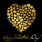 Abstract golden heart Valentine's day postc. Abstract golden heart on black background. Valentine's day postcard. Vector eps10 illustration Stock Images