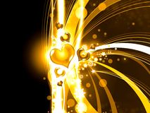 Abstract golden hearts background illustration Stock Photography