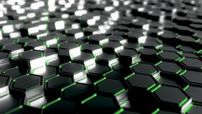 Abstract futuristic hexagonal black and green background, 3D rendering. Abstract golden hexagonal background 3D vector illustration
