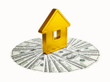 Abstract golden house with a hundred-dollar Stock Photo