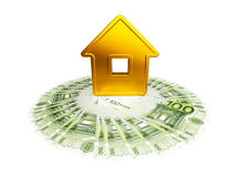 Abstract golden house with a hundred-euro Royalty Free Stock Image