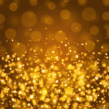 Abstract Golden Light Bokeh Background Vector Illustration. Magic Gold Defocused Glitter Sparkles. Good for promotion materials, Brochures, Banners. Abstract Royalty Free Stock Photo