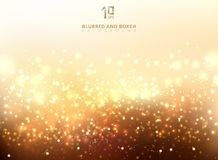 Abstract golden light glittering and bokeh background. Magic Gold Defocused Glitter Sparkles, light dots with copy space. Vector illustration stock illustration