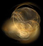 Abstract golden lights. Abstract background of shining golden lights twisting in chaotic effect, black background royalty free illustration