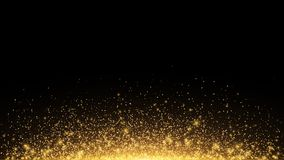 Abstract golden lights with backlight. Flying magical golden dust and glare. Festive Christmas background. Golden Rain. Vector. Illustration Stock Images