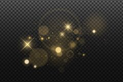 Free Abstract Golden Lights Bokeh Isolated On A Dark Transparent Background. Shining Stars And Glare. Footage For Your Design. Stock Photos - 192755213