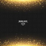 Abstract golden lights fall on a transparent background. Magical gold dust and glare. Festive background. Golden backlight. Vector. Illustration Royalty Free Stock Image
